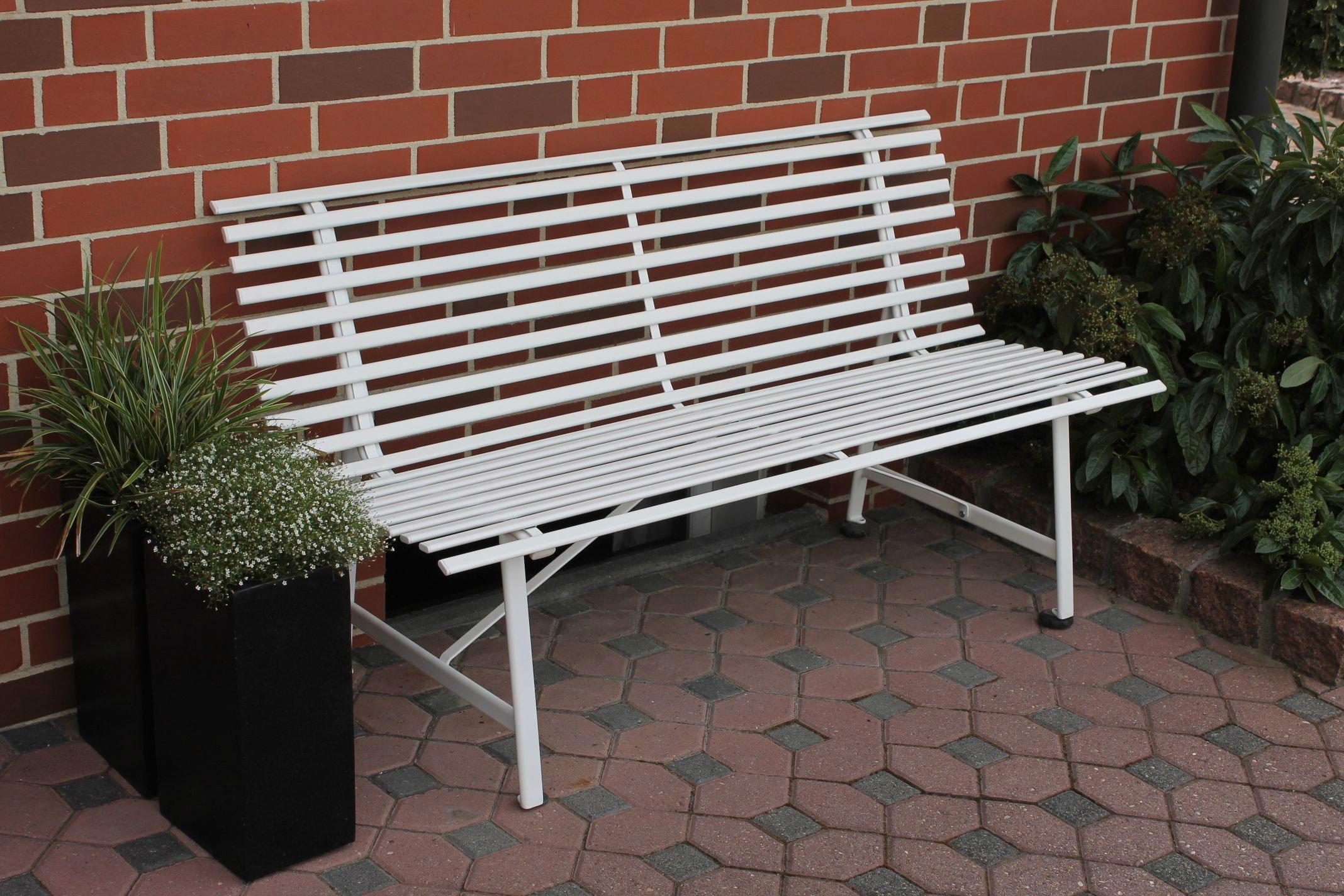 LECO Gartenbank Stahl 150x62x81 cm weiß