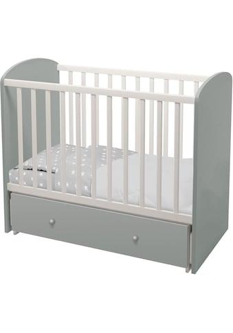 Polini kids Babybett »Sky 745, Weiß-Grau«, mit Bettschubkasten und Schaukelfunktion kaufen