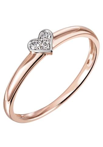 Firetti Diamantring »Herz, bicolor, glänzend, teilw. rhodiniert«, mit Brillanten kaufen