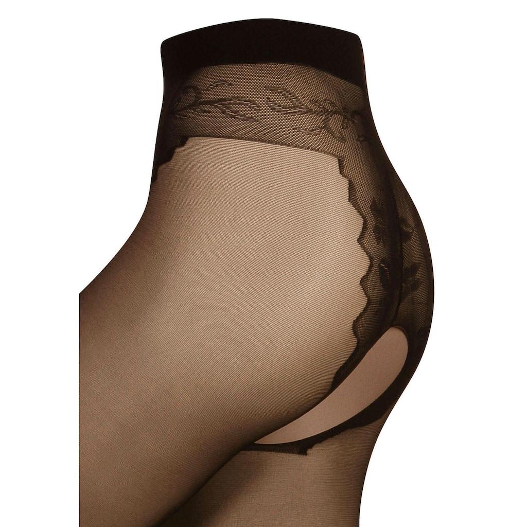 Die Strumpfmacher Ouvert Strumpfhose, 20 DEN, mit floralem Panty und Hochnaht