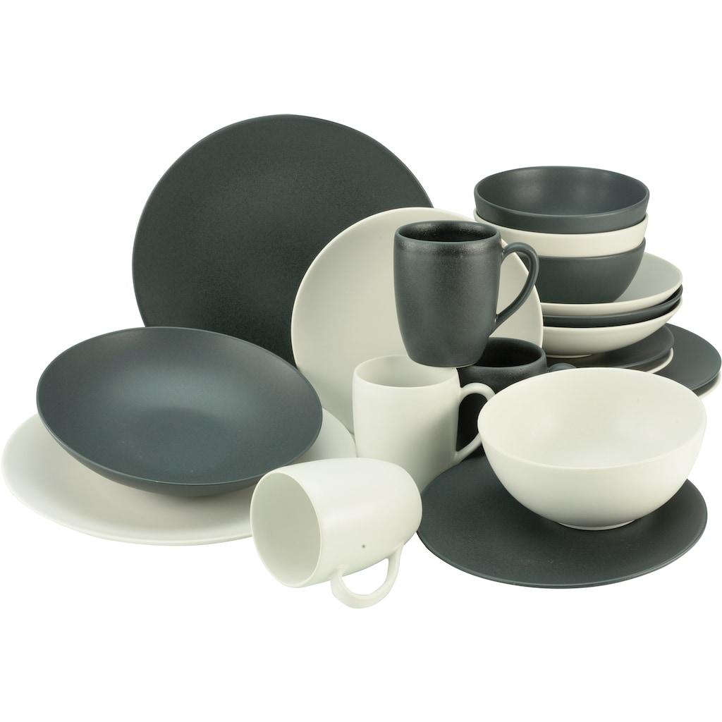 CreaTable Kombiservice »Soft Touch Black & White«, (Set, 20 tlg.), seidenmatte Glasur
