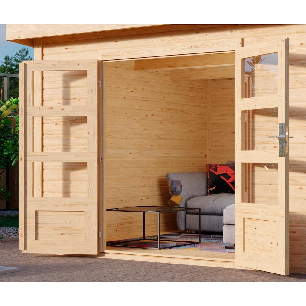 KARIBU Set: Gartenhaus »Edersee 4«, BxT: 651x303 cm, mit Anbaudach