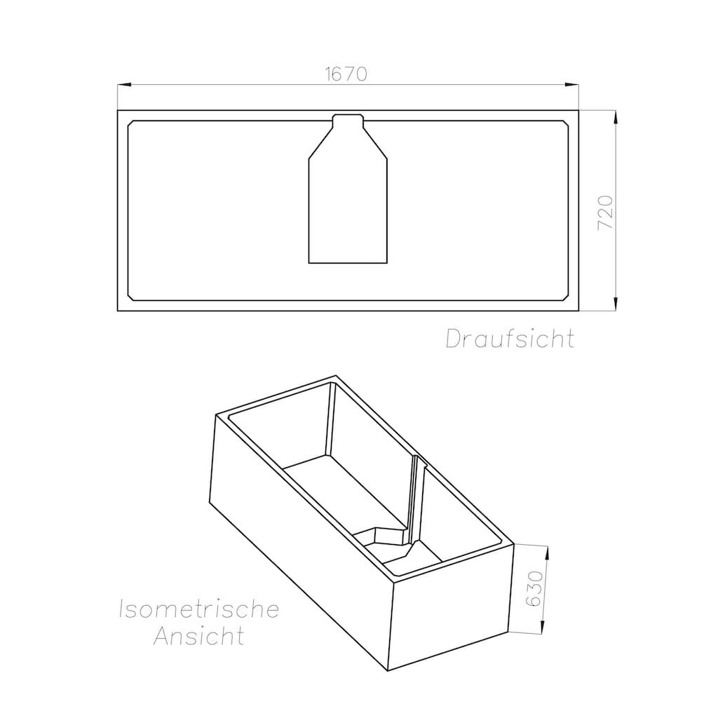 OTTOFOND Badewanne »Cubic«, mit Wannenträger und Ablaufgarnitur