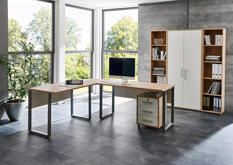 BMG Möbel Büromöbel-Set »Tabor Office 3« (6-tlg.) | Büro > Büromöbel-Serien | Braun | Sonoma - Eiche - Edelstahl - Abs - Melamin