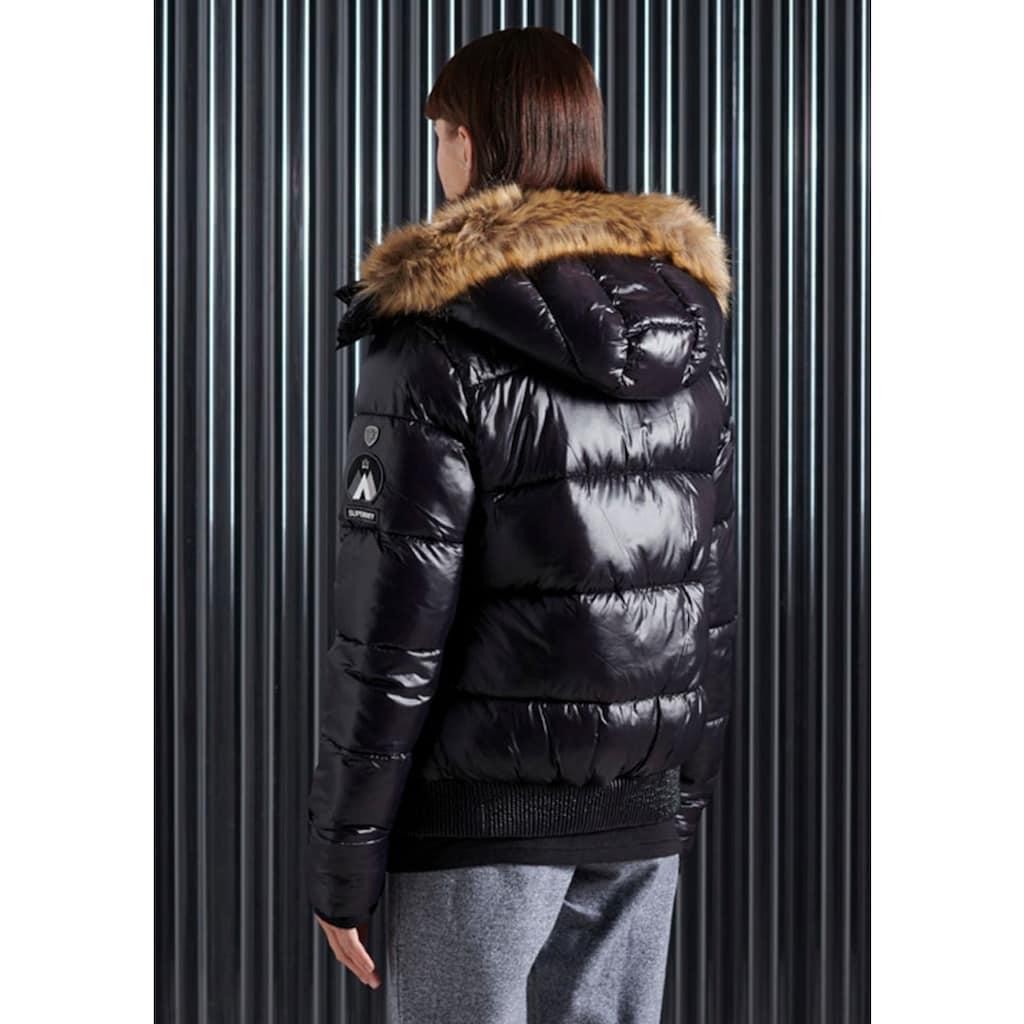 Superdry Kurzjacke »HIGH SHINE TOYA BOMBER«, im glänzendem Design & Tailenbündchen