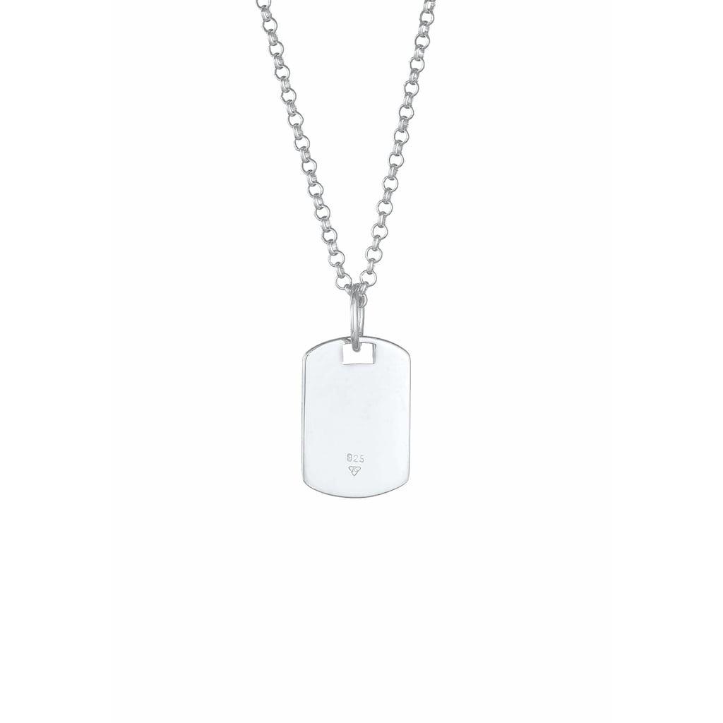 Kuzzoi Silberkette »Herren Dog Tag Military Platte Brushed 925 Silber«