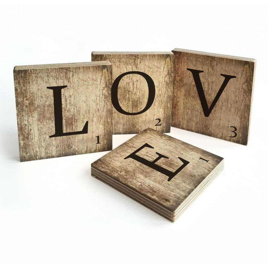 Wall-Art Mehrteilige Bilder »Scrabble Deko Buchstaben Love«, (Set, 4 St.)