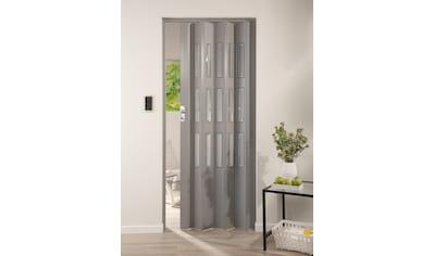 Kunststoff - Falttür »Elvira«, Höhe nach Maß, grau gewebt mit Cristall Fenstern kaufen