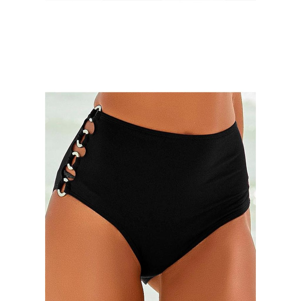 LASCANA Highwaist-Bikini-Hose »Italy«, Goldfarbene Zierringe