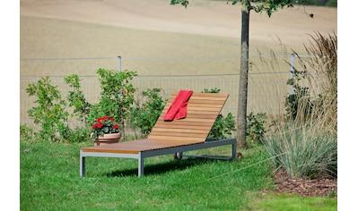 MERXX Gartenliege »Naxos«, Eukalyptus/Textil, verstellbar, grau kaufen