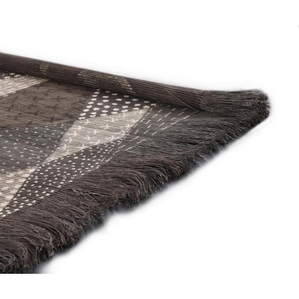 DIE HAUSKUNST Teppich »Chiya Tiama 1«, rechteckig, 4 mm Höhe, Flachgewebe, handgewebt, mit Fransen, Wohnzimmer