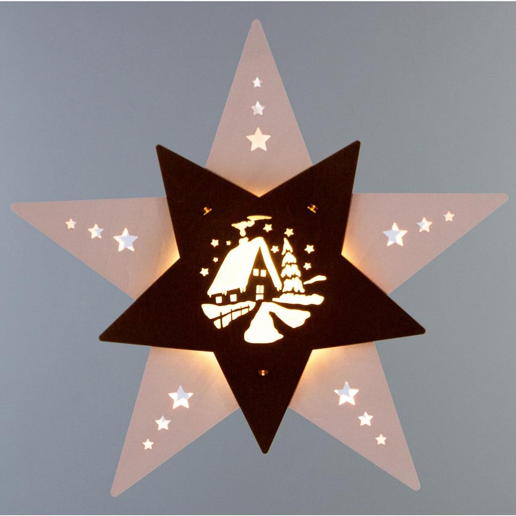 Weigla Beleuchtetes Fensterbild »Waldhütte«, aus FSC® zertifiziertem Holz