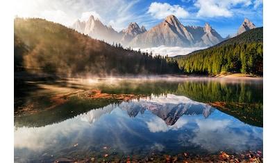 PAPERMOON Fototapete »Mountain Lake Autumn Fog«, Vlies, in verschiedenen Größen kaufen