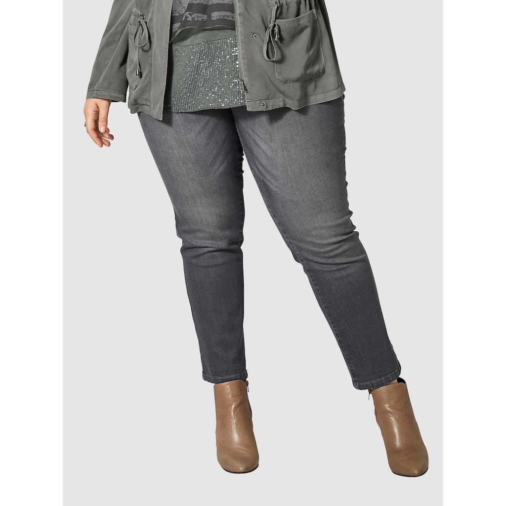 Sara Lindholm by Happy Size Slim Fit Jeans knöchellang mit Nieten