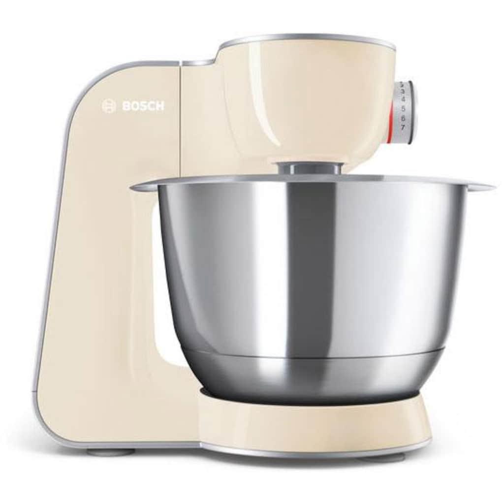 BOSCH Küchenmaschine »MUM5 CreationLine MUM58920«, 1000 W, 3,9 l Schüssel, vielseitig einsetzbar, Durchlaufschnitzler, 3 Reibescheiben Mixer, vanille/silber