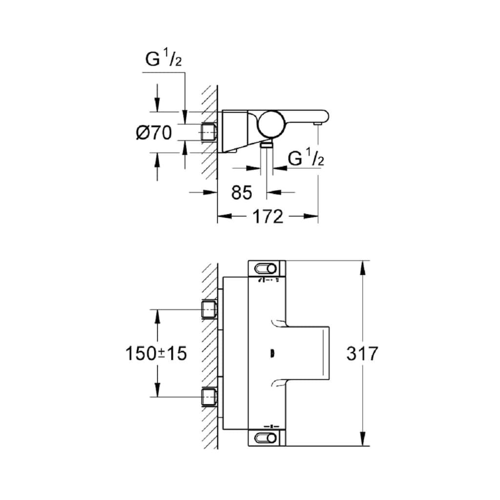 GROHE Wannenthermostat »Grohtherm 2000«, für Wandmontage, Thermostat-Batterie, DN 15