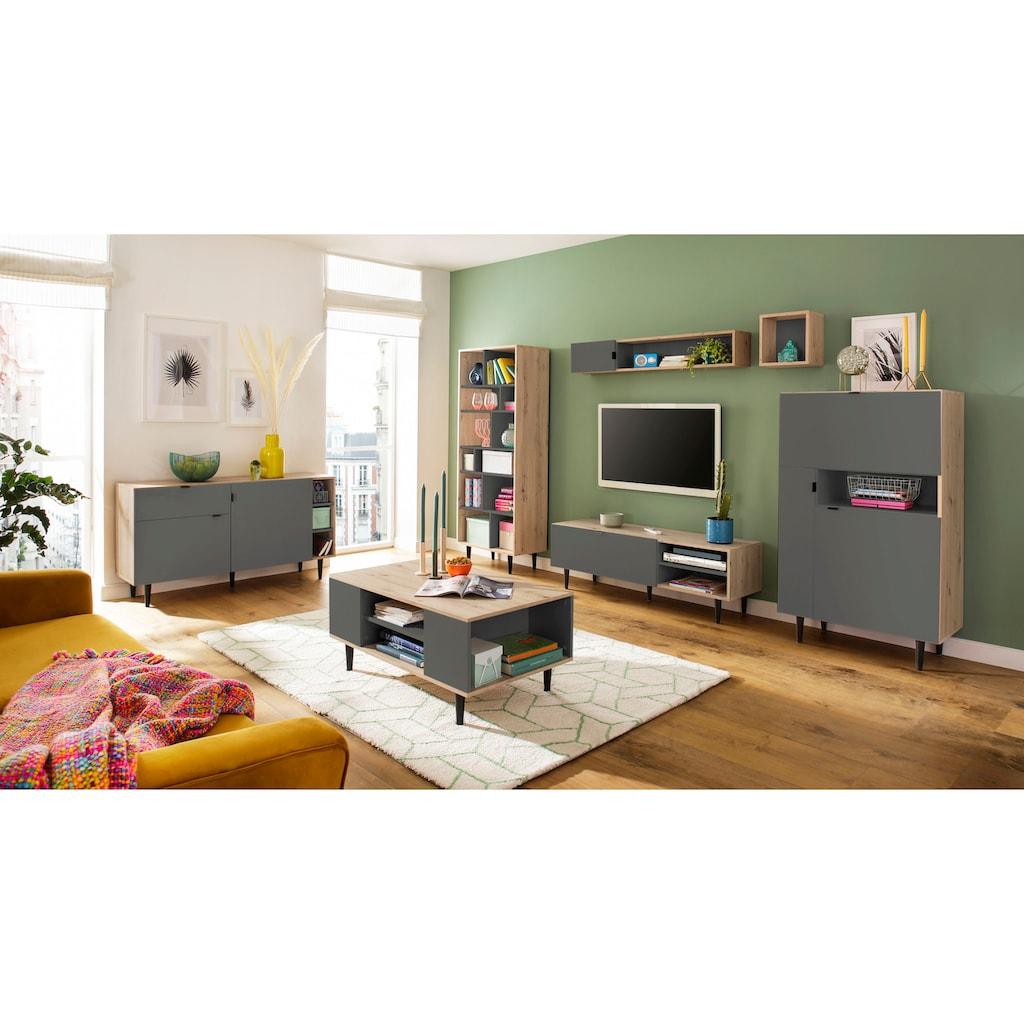 my home Couchtisch »Legro«, mit schwarz lackierten Buchenholzbeinen, Zweifarbigkeit, diversen Stauraummöglichkeiten, Breite 100 cm