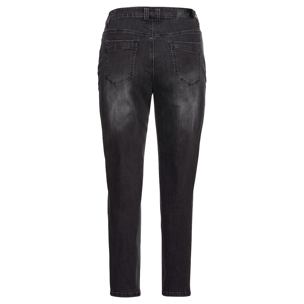 Sheego Stretch-Jeans, Mom mit Destroyed-Effekten