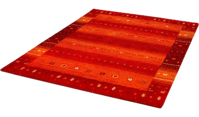 Dekowe Wollteppich »Samia«, rechteckig, 15 mm Höhe, reine Wolle, Kurzflor, Gabbeh Design, handgeknüpft, mit Bordüre, Wohnzimmer kaufen