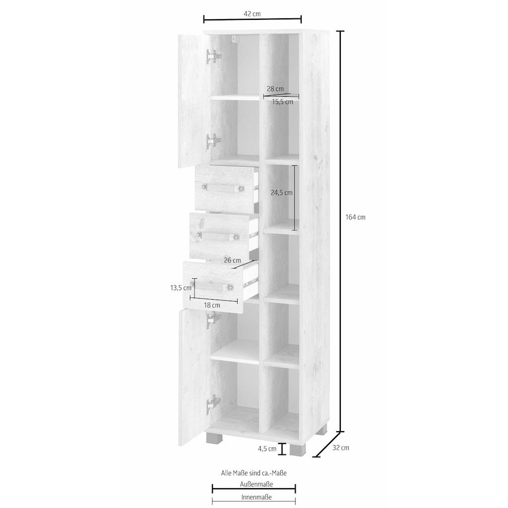Schildmeyer Hochschrank »Milan«, Breite 42 cm, mit 2 Türen, 3 Schubladen & 6 offenen Fächern