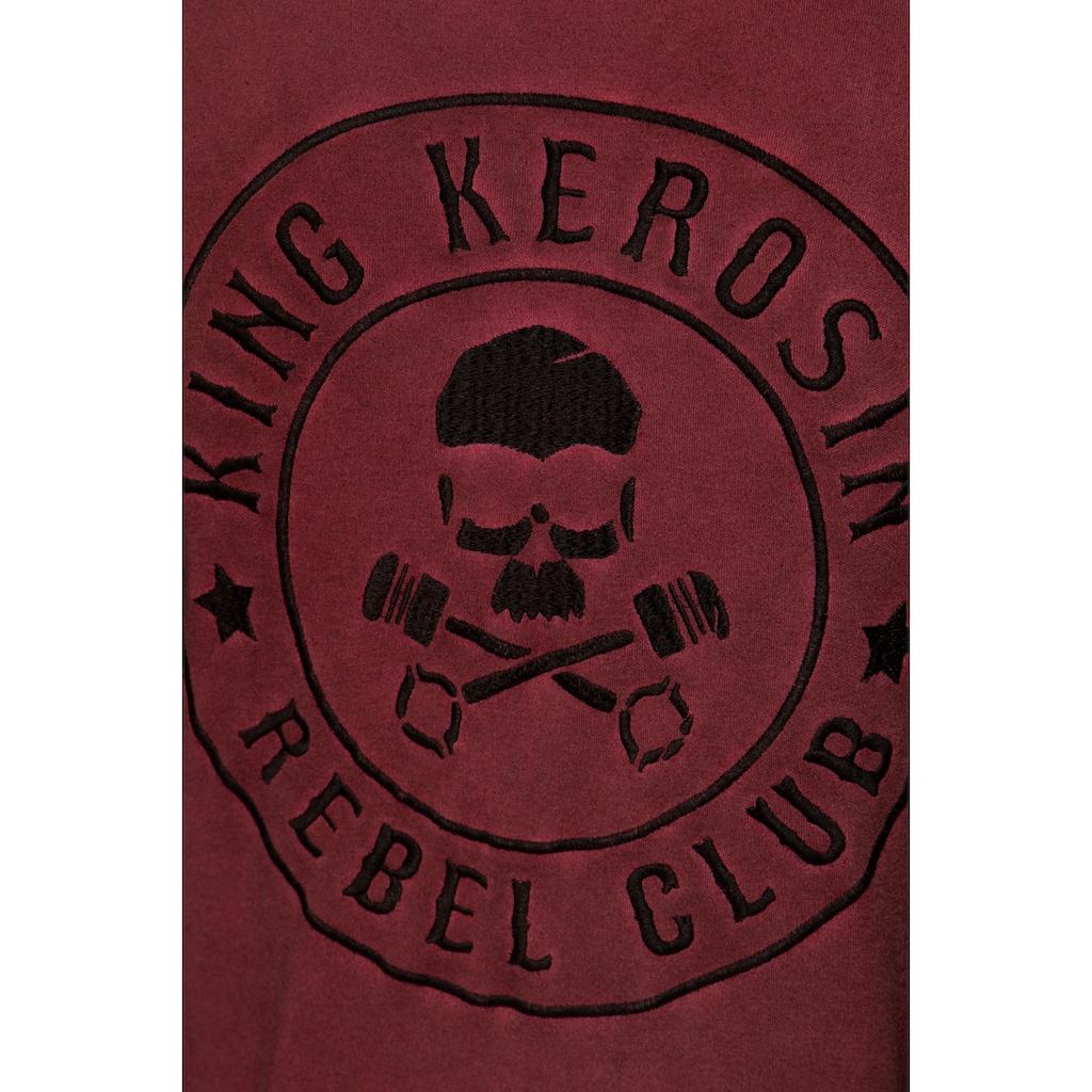 KingKerosin Longsleeve »Tough as Nails«, mit gestreiften Ärmeln und Stickerei im Rücken