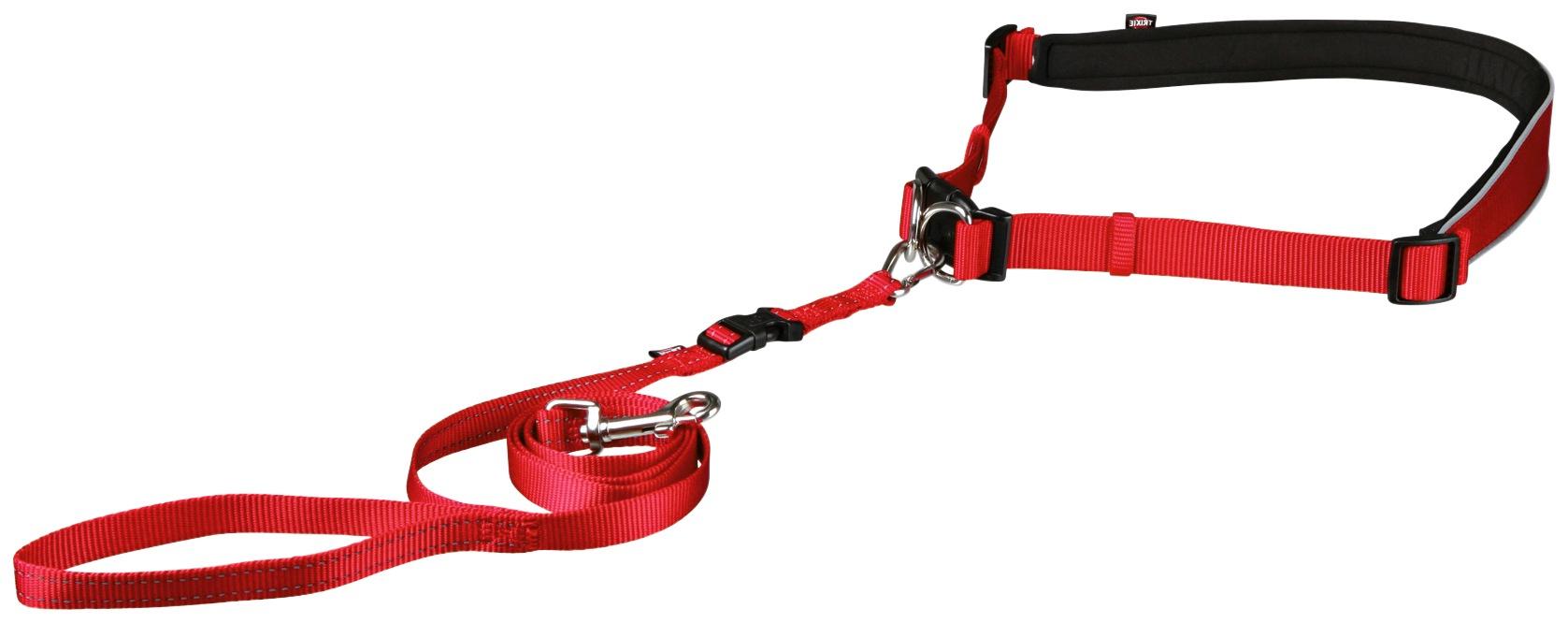 TRIXIE Hundeleine, mit Bauchgurt 60-130 cm, 1,2 Meter rot Hundeleinen Hund Tierbedarf Hundeleine