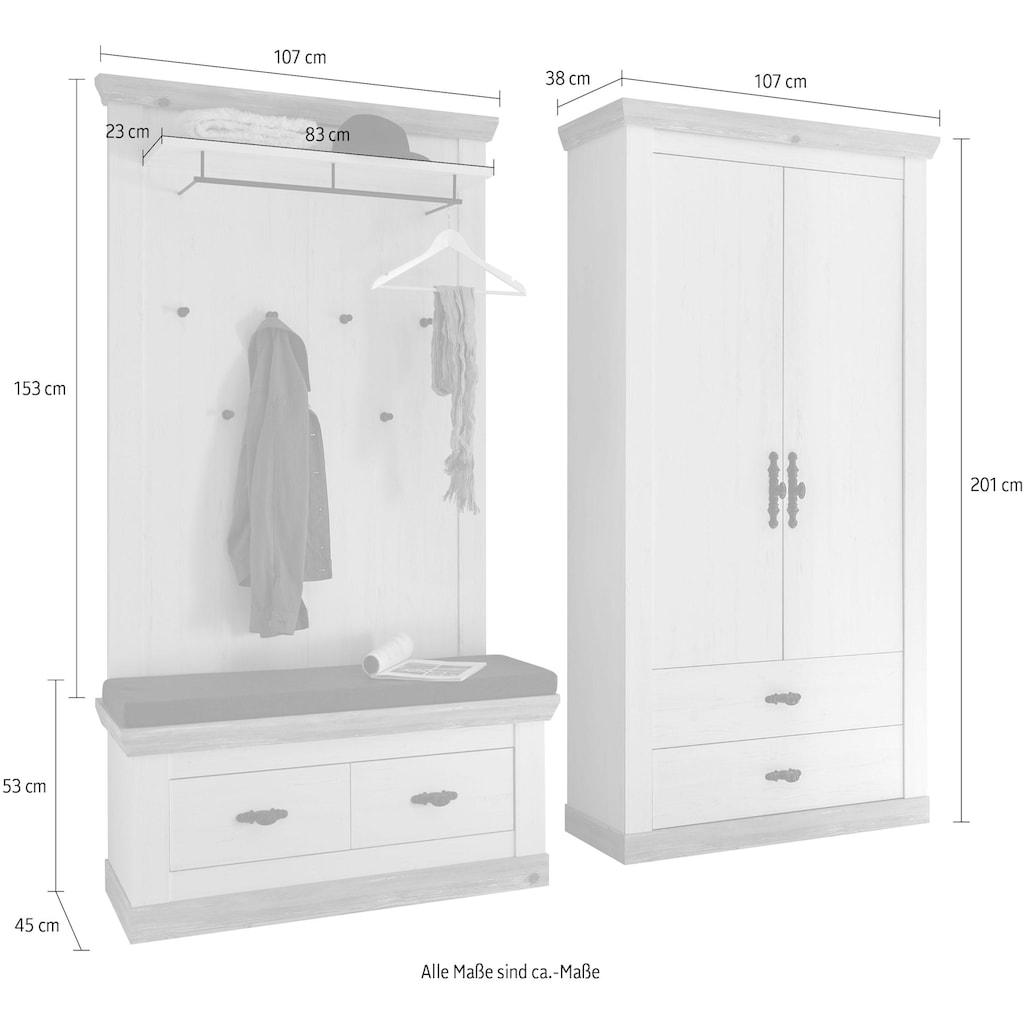 Home affaire Garderoben-Set »Florenz«, (3 St.), bestehend aus 1 Bank, 1 Paneel und 1 Stauraumschrank
