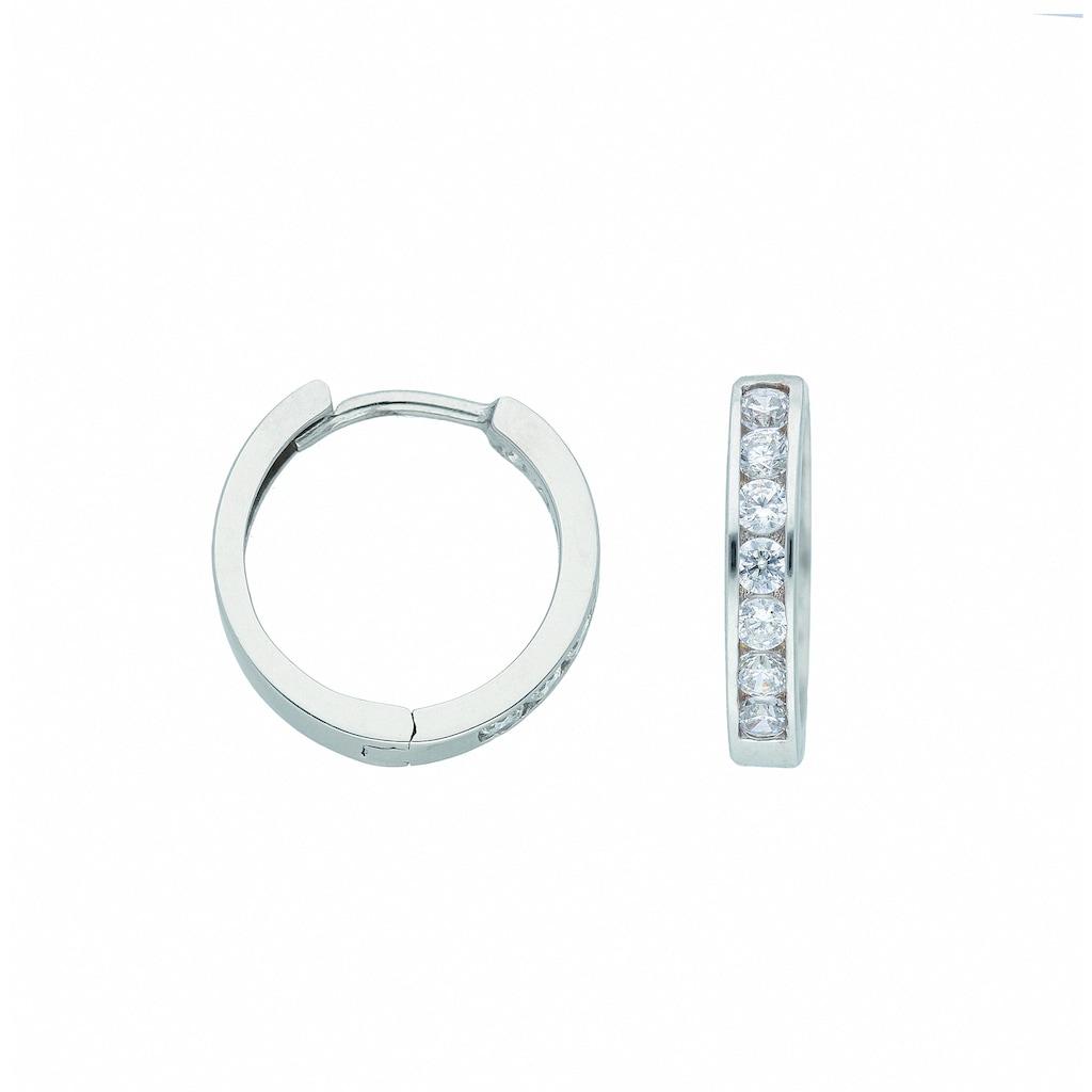 Adelia´s Paar Ohrhänger »333 Weißgold Ohrringe / Creolen mit Zirkonia Ø 13,6 mm«, 333 Gold Goldschmuck für Damen