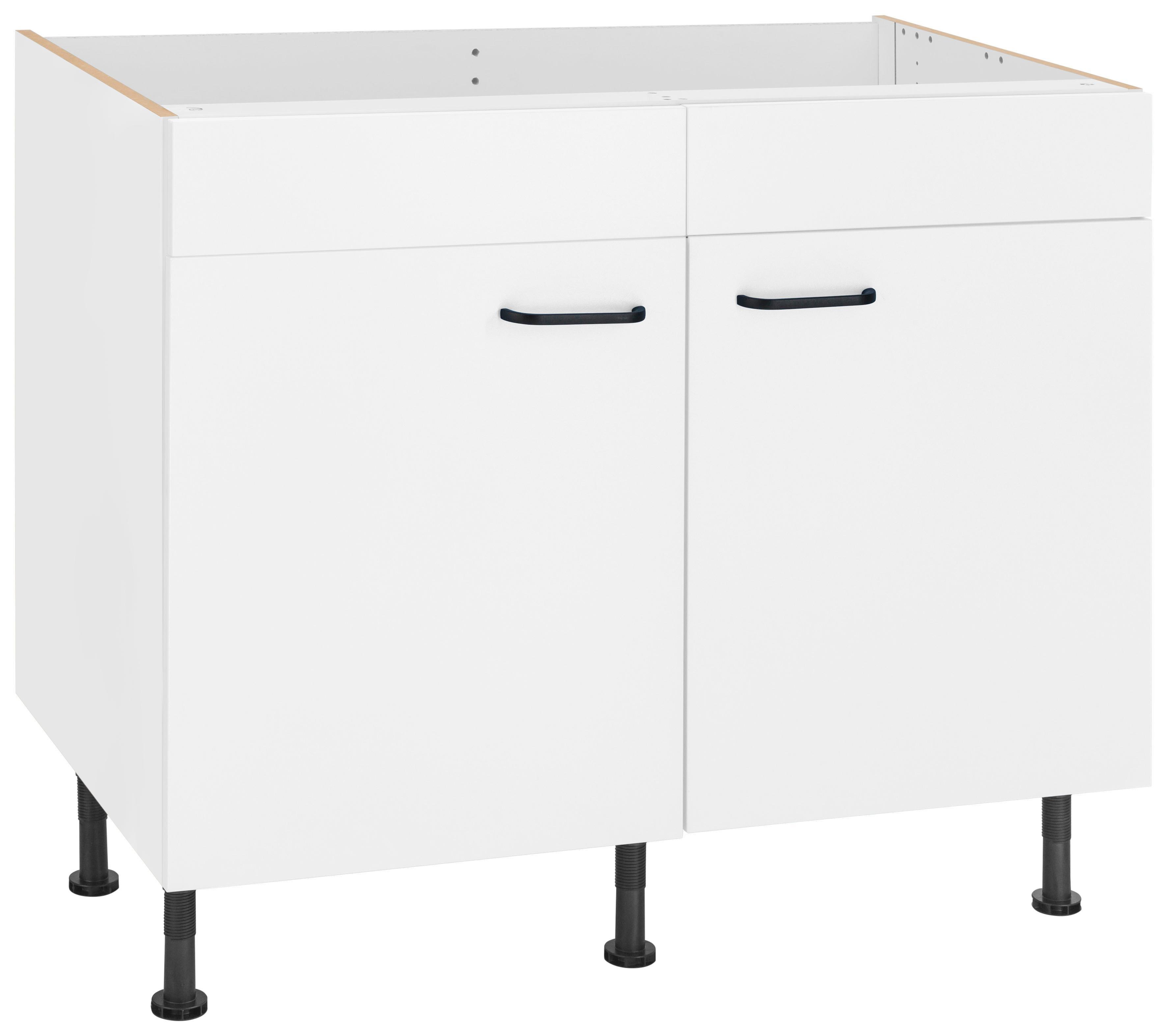 OPTIFIT Spülenschrank Elga Breite 100 cm | Küche und Esszimmer > Küchenschränke > Spülenschränke | Weiß | Nachbildung - Eiche - Melamin | Optifit