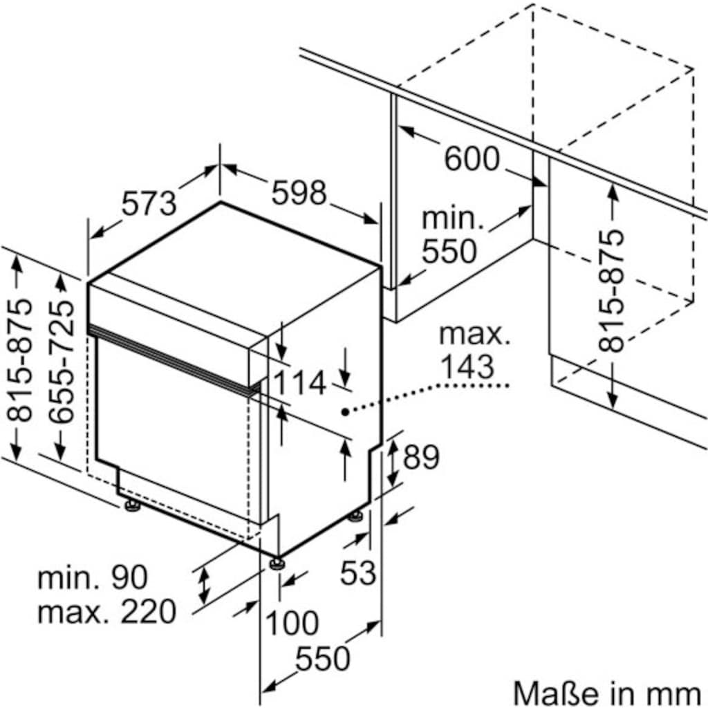SIEMENS teilintegrierbarer Geschirrspüler »SN53HS30AE«, iQ300, SN53HS30AE, 13 Maßgedecke