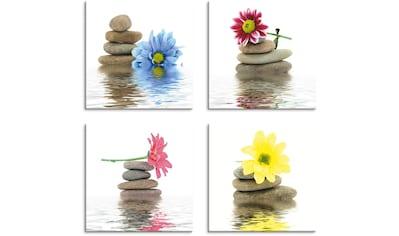 Artland Leinwandbild »Zen Therapie-Steine mit Blumen«, Zen, (4 St.) kaufen