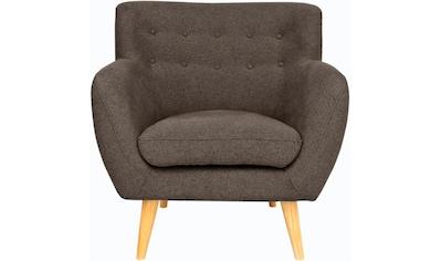 Home affaire Sessel »Noris«, mit Zierknopfheftung im Rücken, skandinavischer Stil, Holzfüße kaufen
