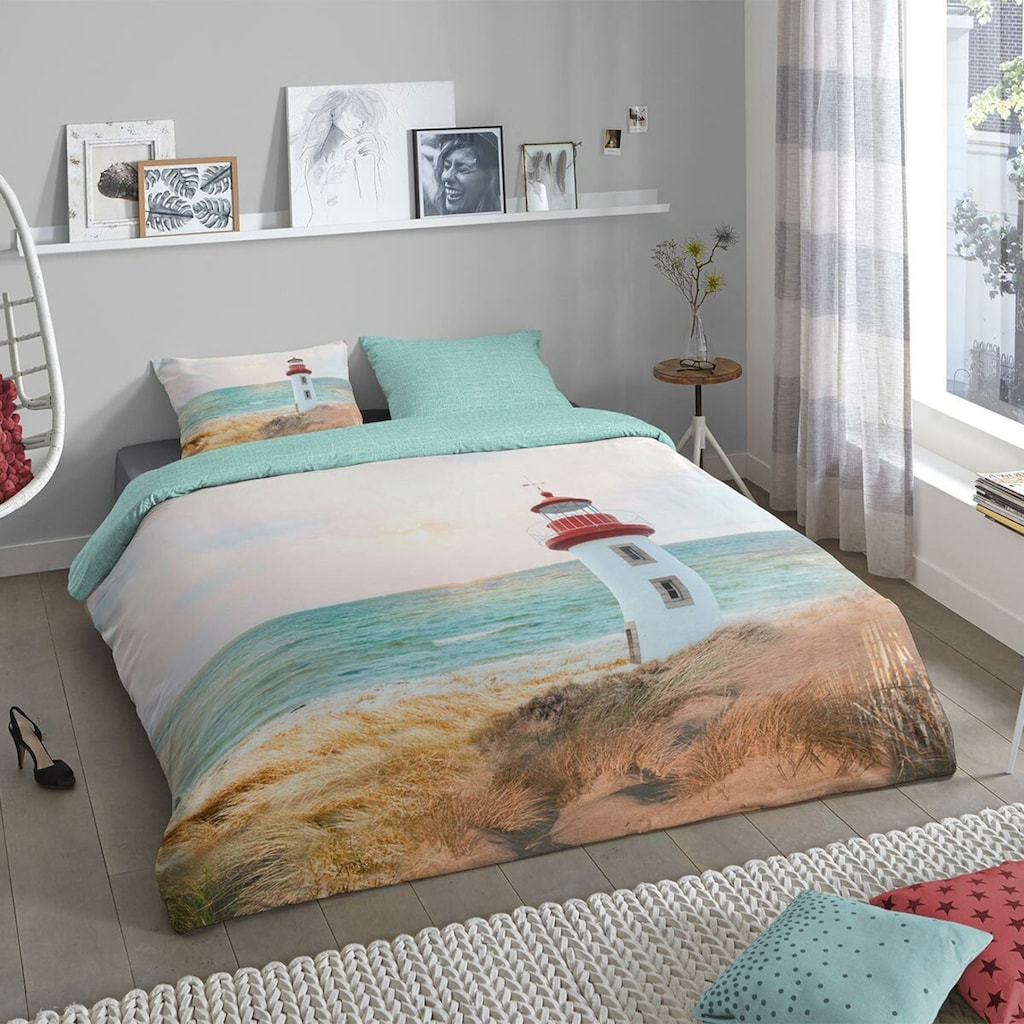 TRAUMSCHLAF Bettwäsche »Leuchtturm«, maritimes Design aus 100% Baumwolle