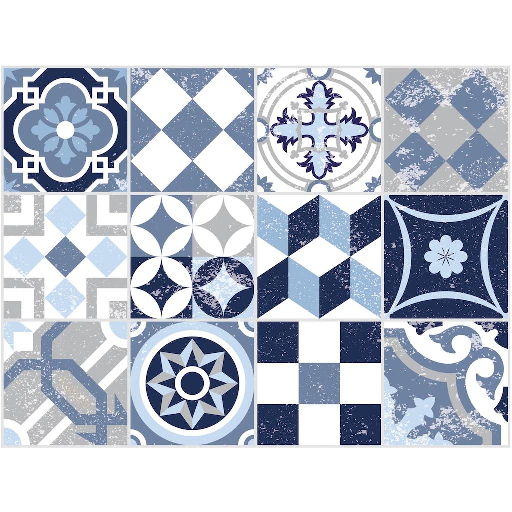 Contento Platzset »Mosaik, blau«, (Set, 4 St.), für innen und außen geeignet, wasserabweisend