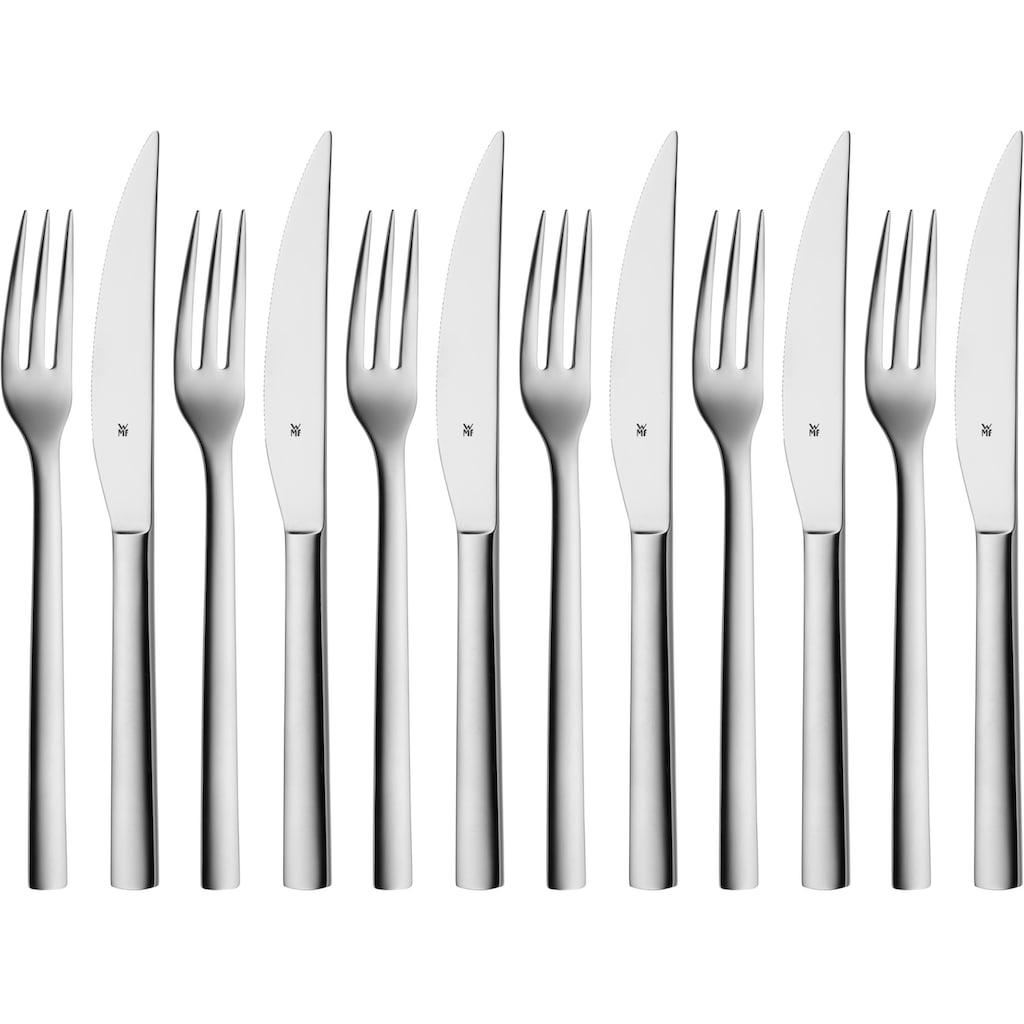 WMF Steakbesteck »Nuova«, (Set, 12 tlg.), Solide Monobloc Steakmesser