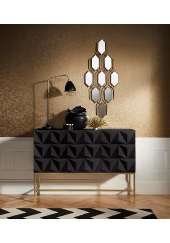 Leonique Sideboard »Rovuma«, in 3D-Optik und goldfarbenem Metallgestell kaufen