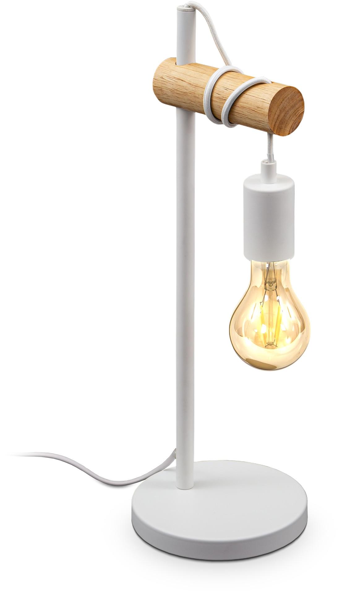 B.K.Licht Tischleuchte, E27, 1 St., 1 flammige Vintage Tischlampe, Industrial Design, Retro Lampe, Stahl, Holz, Rund, E27, ohne Leuchtmittel
