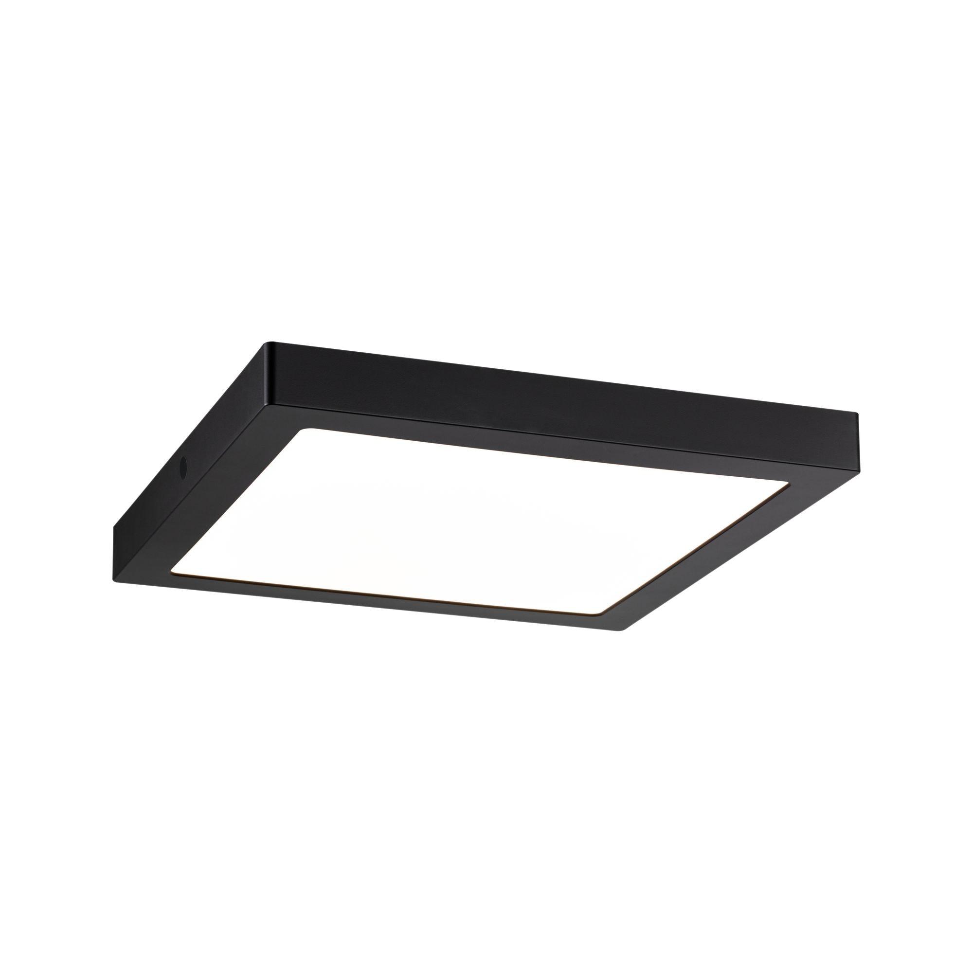 Paulmann LED Deckenleuchte Panel Abia eckig 300x300mm 22W 2.700K Schwarz matt, 1 St., Warmweiß