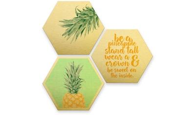 Wall-Art Mehrteilige Bilder »Gold Effekt Ananas Collage«, (Set, 3 St.) kaufen
