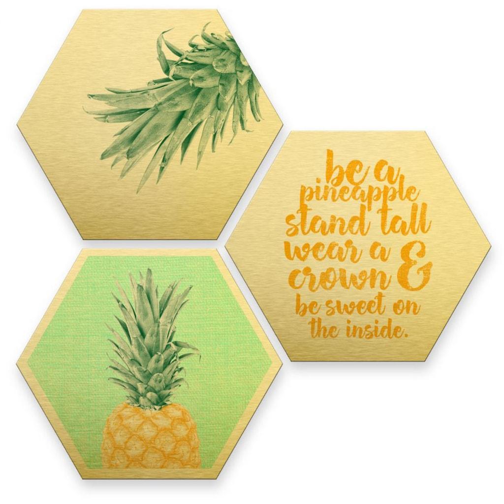 Wall-Art Mehrteilige Bilder »Gold Effekt Ananas Collage«, (Set, 3 St.)