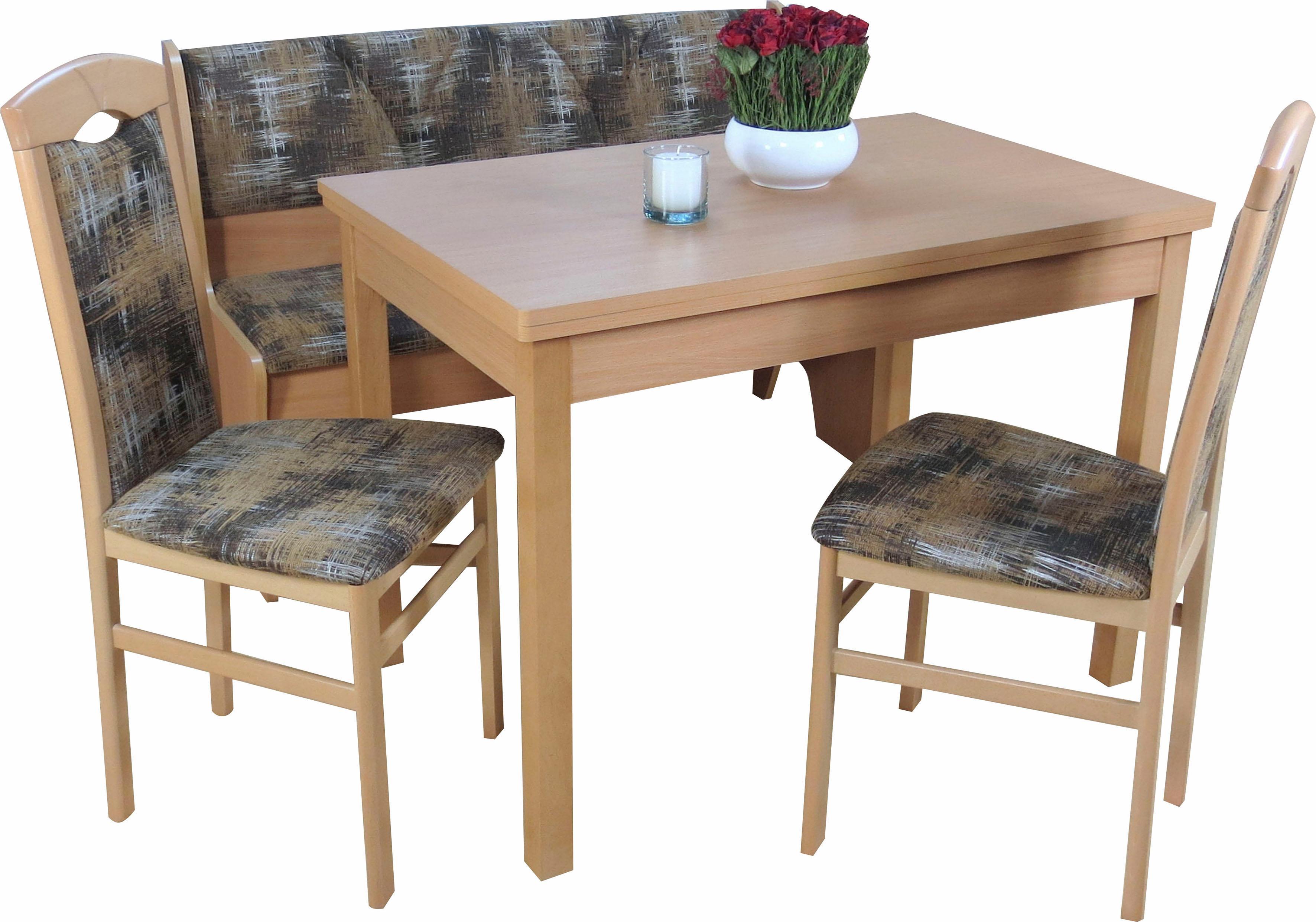 Sitzgruppe mit Truhenbank (4-tlg) | Küche und Esszimmer > Sitzbänke > Truhenbänke | Buchenholz - Stoff - Buche - Massivholz - Melamin - Strukturstoff - Abs