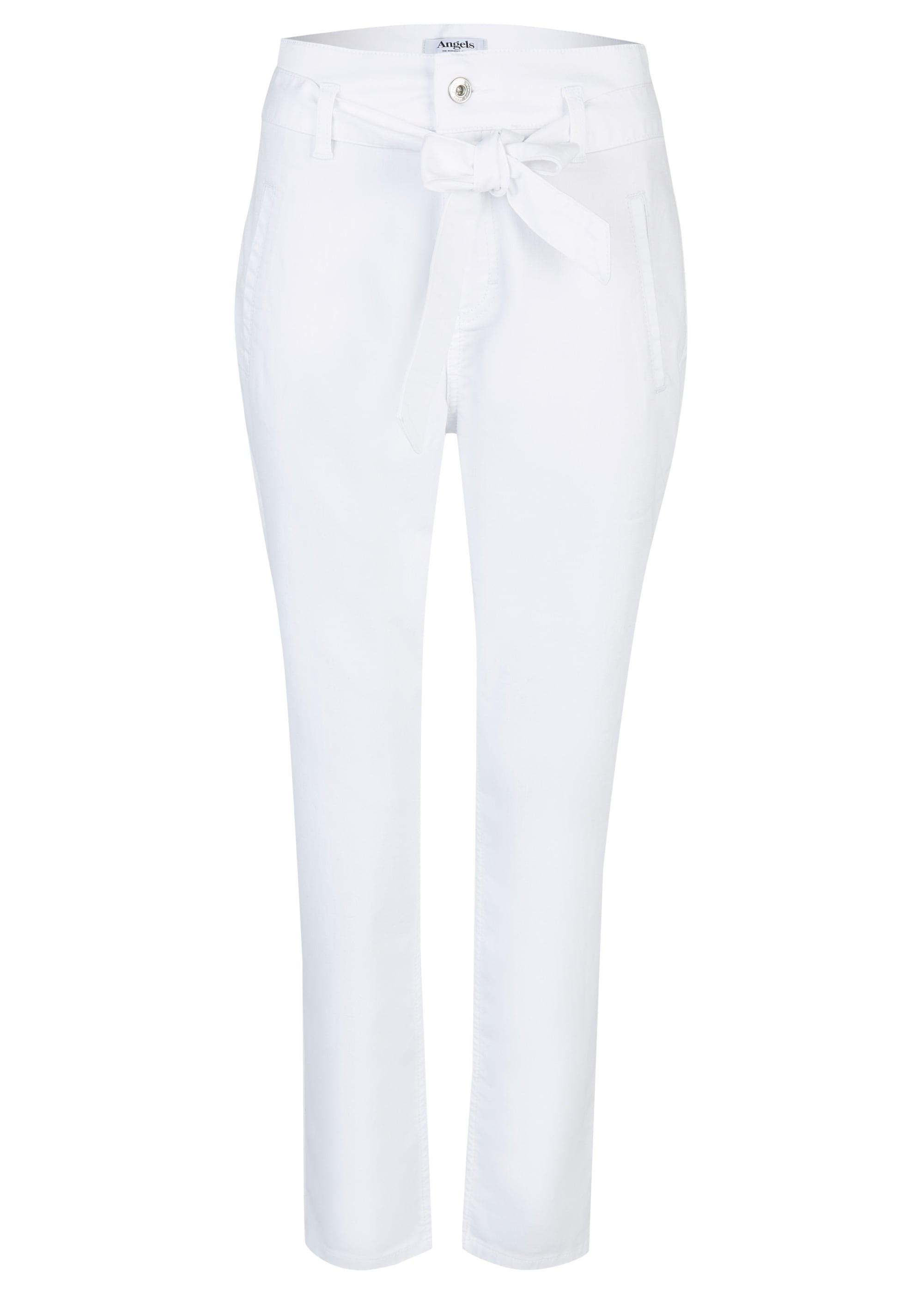 ANGELS Hose,Gwen' mit Bindegürtel weiß Damen Gerade Hosen lang