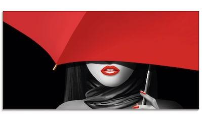 Artland Glasbild »Rote Lippen unter dem Regenschirm«, Frau, (1 St.) kaufen