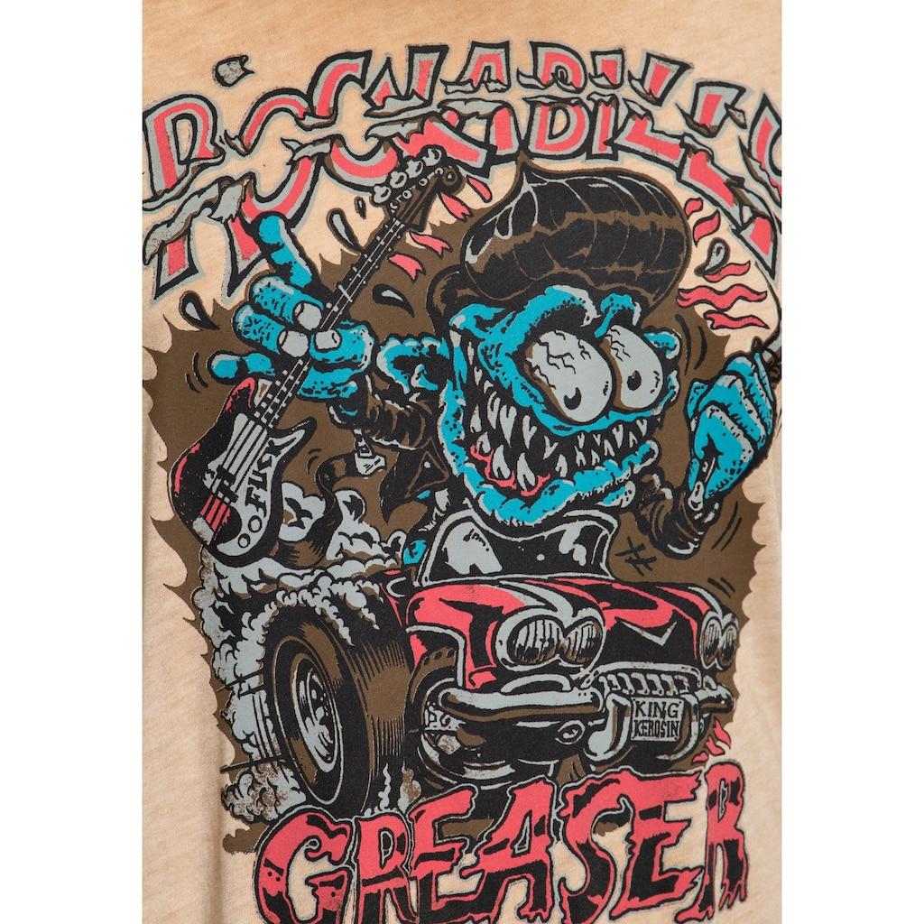 KingKerosin Print-Shirt »Rockabilly Greaser«, in Vintage Optik mit Oilwash-Effekt