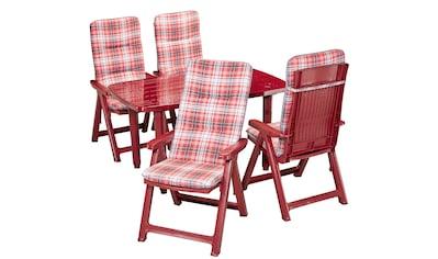 BEST Gartenmöbelset »Kopenhagen«, 9 - tlg., 4 Klappsessel, Tisch 137x90 cm, Kunststoff, rot kaufen