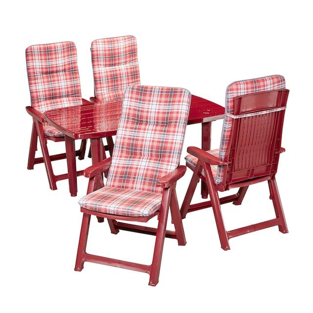 BEST Gartenmöbelset »Kopenhagen«, 9-tlg., 4 Klappsessel, Tisch 137x90 cm, Kunststoff, rot