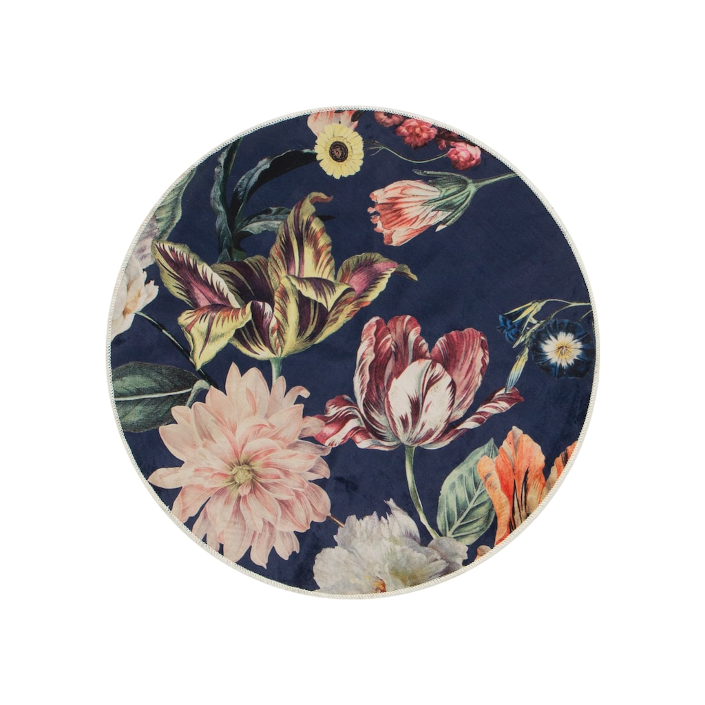 Essenza Teppich »Filou«, rund, 6 mm Höhe, sehr weicher Flor, Blumen Design, Wohnzimmer
