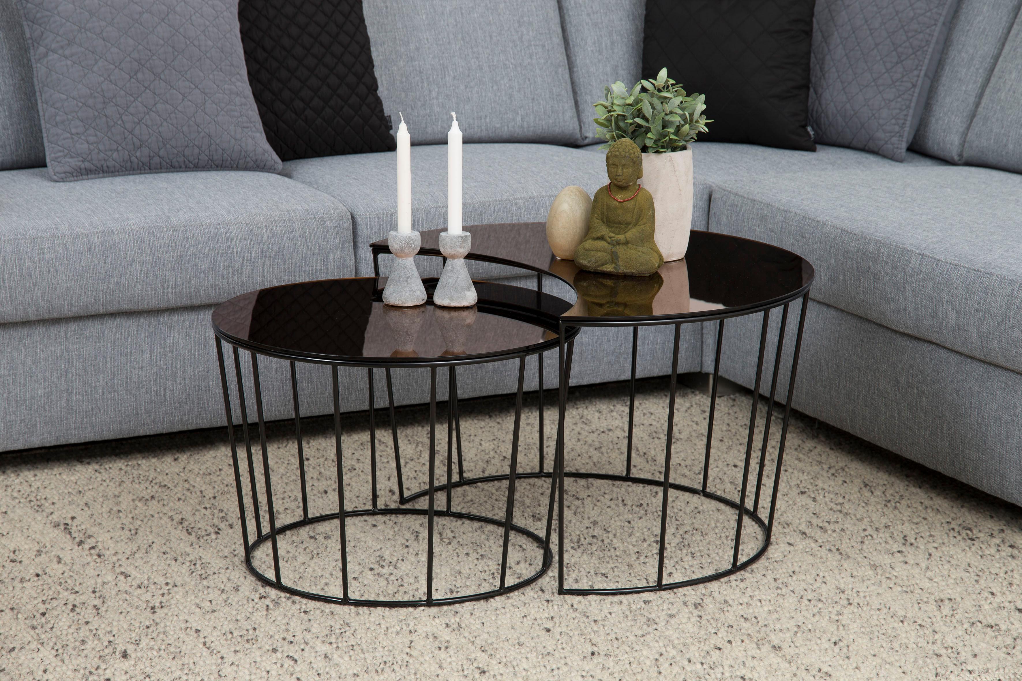 andas Couchtisch »Susan« mit Tischplatte aus bronzefarbigem Spiegelglas und Metall Gestell