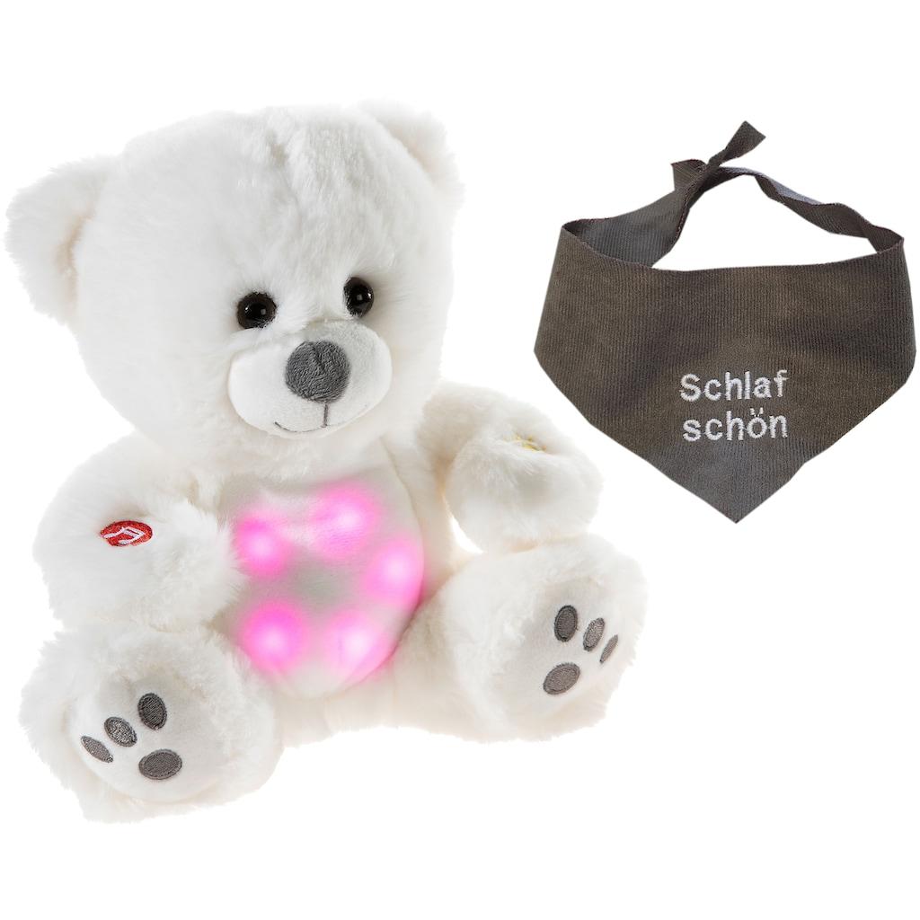 Heunec® Kuscheltier »Musiledi Bär, 20 cm mit grauem Halstuch«, mit Musik und Nachtlicht