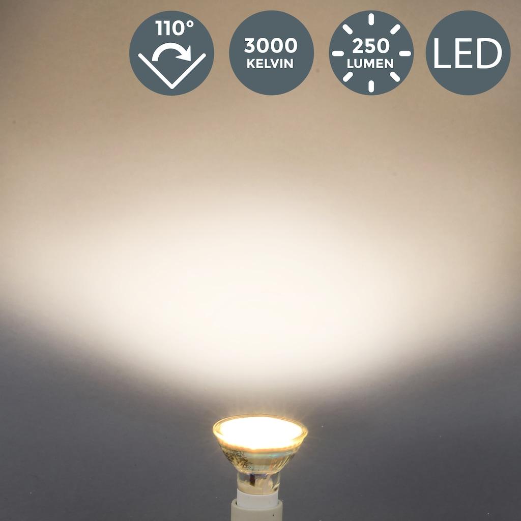 B.K.Licht LED-Leuchtmittel, GU10, 10 St., Warmweiß, LED Lampe Glühbirne 3 Watt 250 Lumen SET 3.000 Kelvin Energiesparlampe